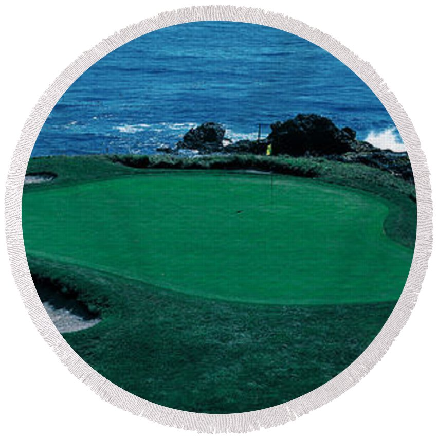 Photography Round Beach Towel featuring the photograph Pebble Beach Golf Course 8th Green by Panoramic Images
