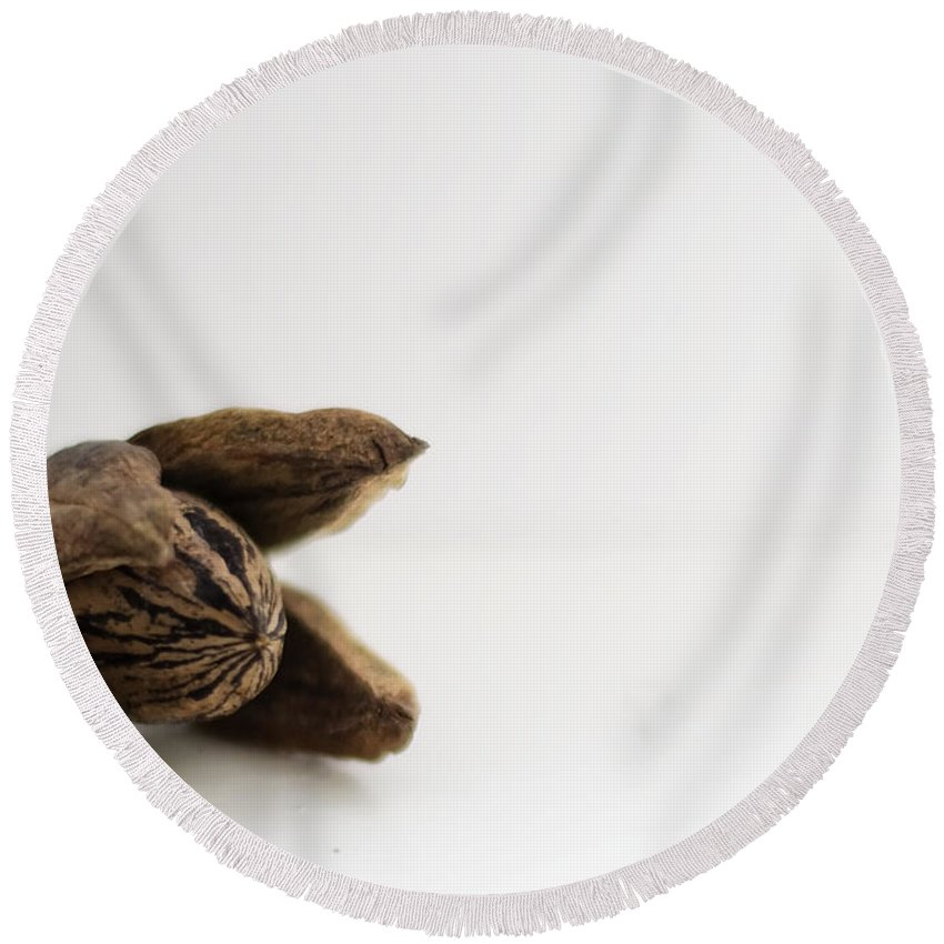 Pecan Round Beach Towel featuring the photograph Pecan by Heather Applegate