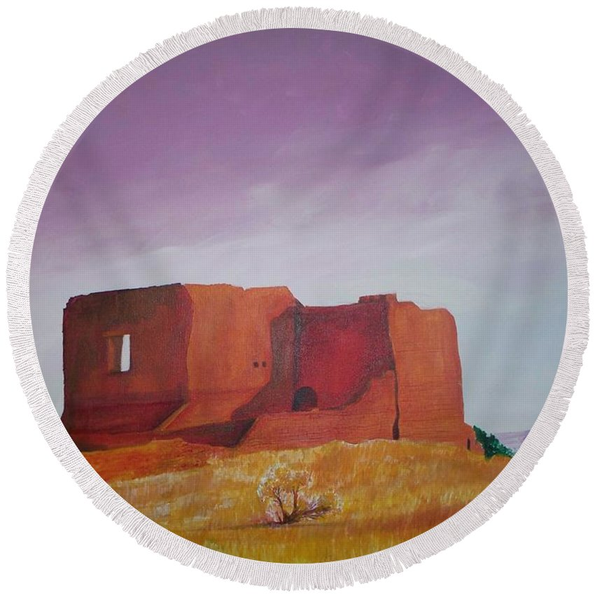 Western Round Beach Towel featuring the painting Pecos Mission Landscape by Eric Schiabor