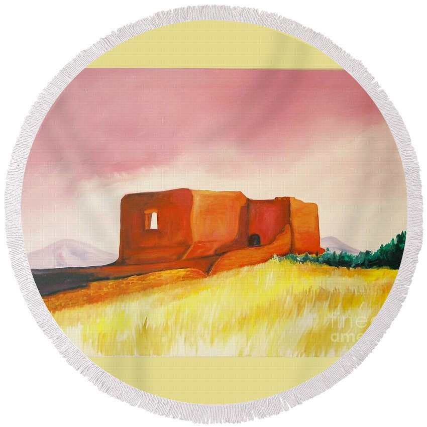 Western Landscapes Round Beach Towel featuring the painting Pecos Mission Nm by Eric Schiabor