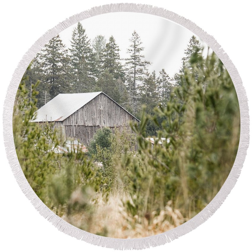 Round Beach Towel featuring the photograph Peek At Our Farm by Cheryl Baxter