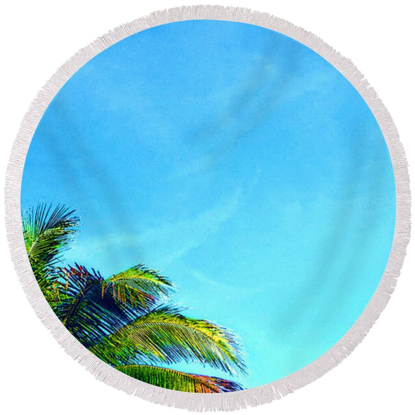 Palm Round Beach Towel featuring the painting Peekaboo Palm - Tropical Art By Sharon Cummings by Sharon Cummings