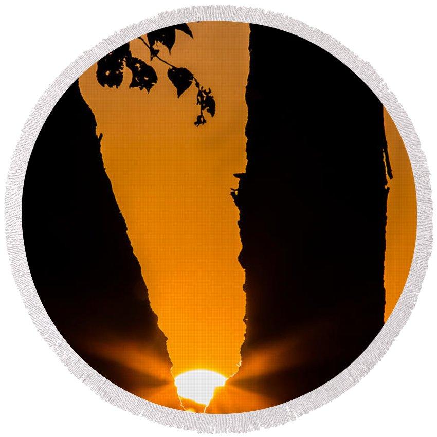 Autumn Round Beach Towel featuring the photograph Peeking Sun by Gaurav Singh