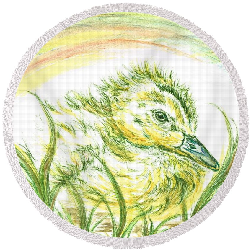 Teresa White Round Beach Towel featuring the painting Pekin Duckling by Teresa White