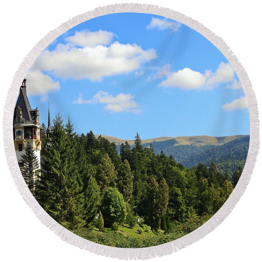 Ornate Clock Tower Round Beach Towel featuring the photograph Peles Castle by Sally Weigand