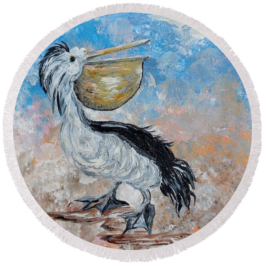 Pelican Round Beach Towel featuring the painting Pelican Beach Walk - Impressionist by Eloise Schneider Mote