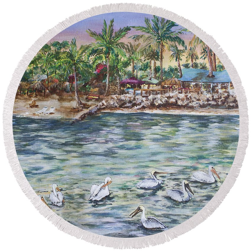 Pelican Round Beach Towel featuring the painting Pelican Medley by Janis Lee Colon