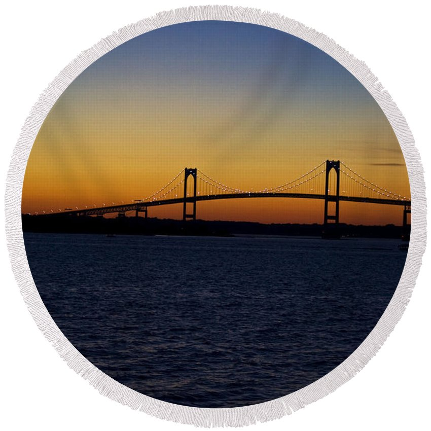Sunset Round Beach Towel featuring the photograph Pell Bridge by Conor McLaughlin