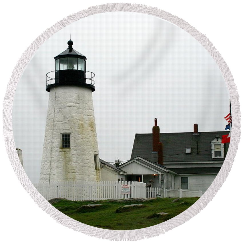 Lighthouse Round Beach Towel featuring the photograph Pemaquid Point Light In The Rain - Maine by Christiane Schulze Art And Photography