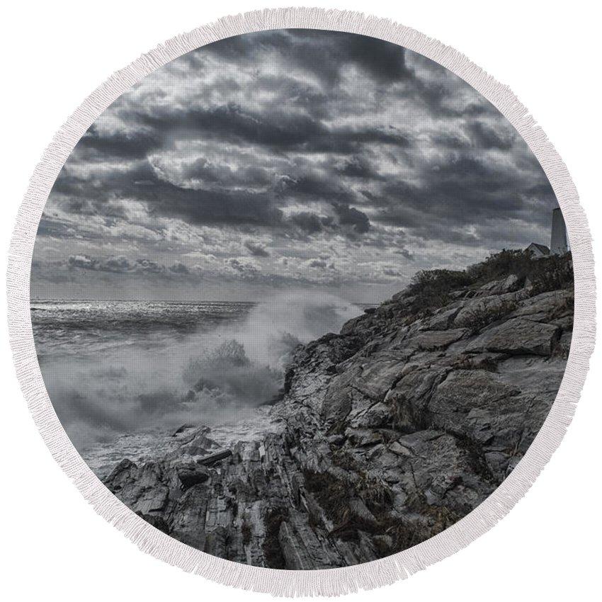 Water Round Beach Towel featuring the photograph Pemaquid Seas by Erika Fawcett