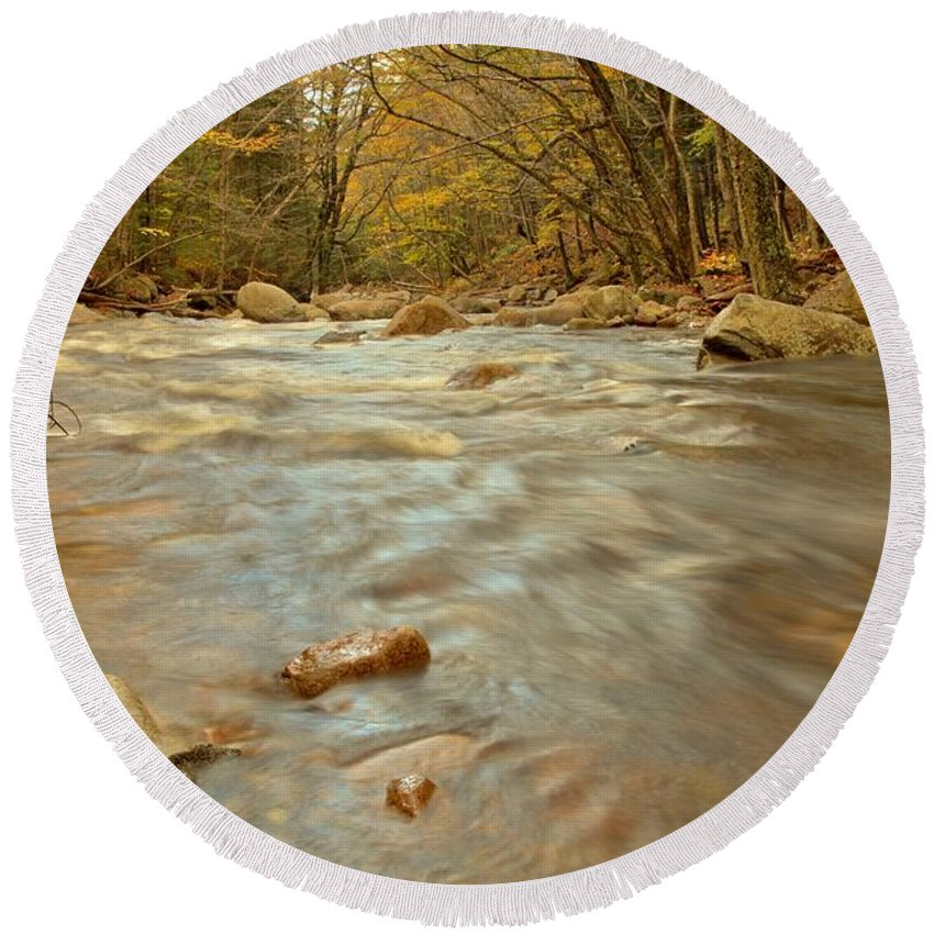 Pemigewasset River Round Beach Towel featuring the photograph Pemigewasset River Rushing By by Adam Jewell