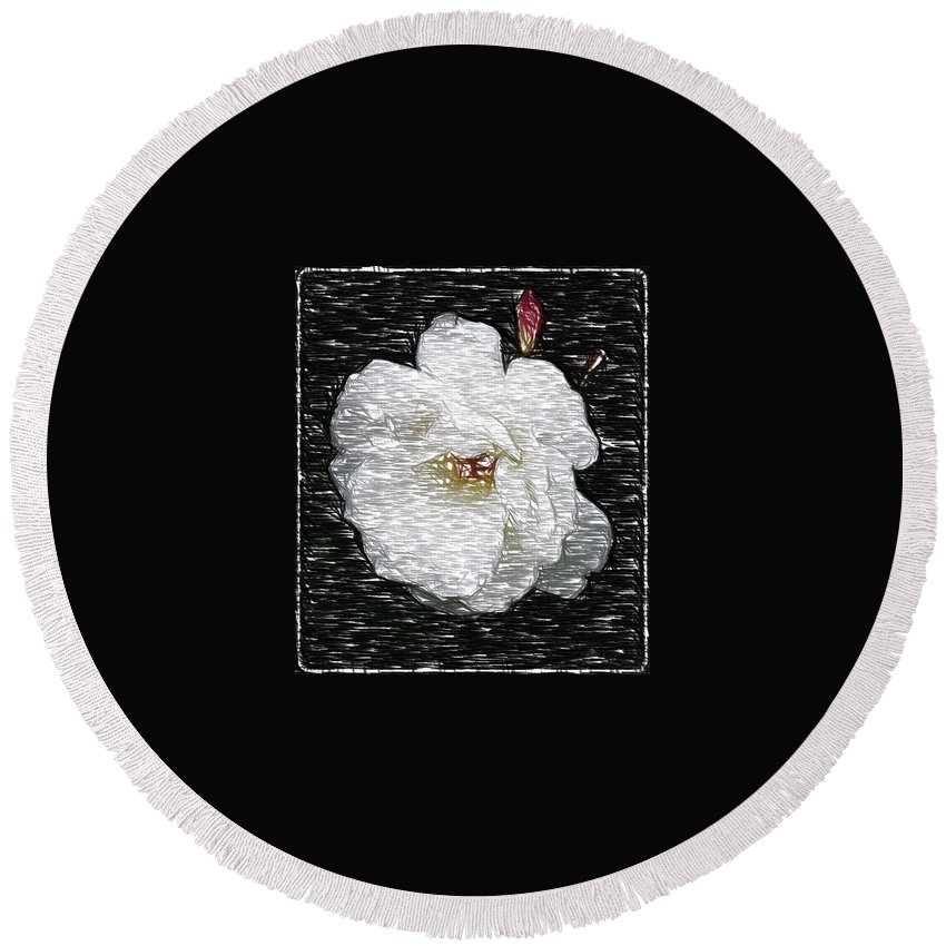 Rose Round Beach Towel featuring the photograph Pencil A Rose by Kathy Sampson