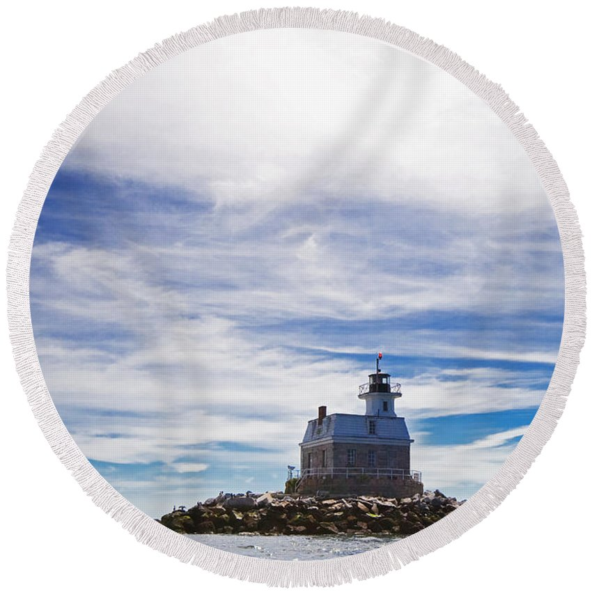 Lighthouse Round Beach Towel featuring the photograph Penfield Reef Lighthouse Fairfield Connecticut by Stephanie McDowell
