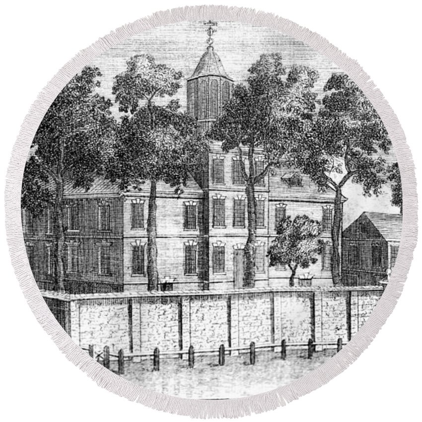 18th Century Round Beach Towel featuring the photograph Pennsylvania Hospital by Granger