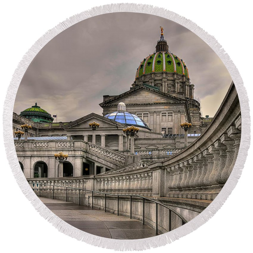 Pennsylvania State Capital Round Beach Towel featuring the photograph Pennsylvania State Capital by Lois Bryan