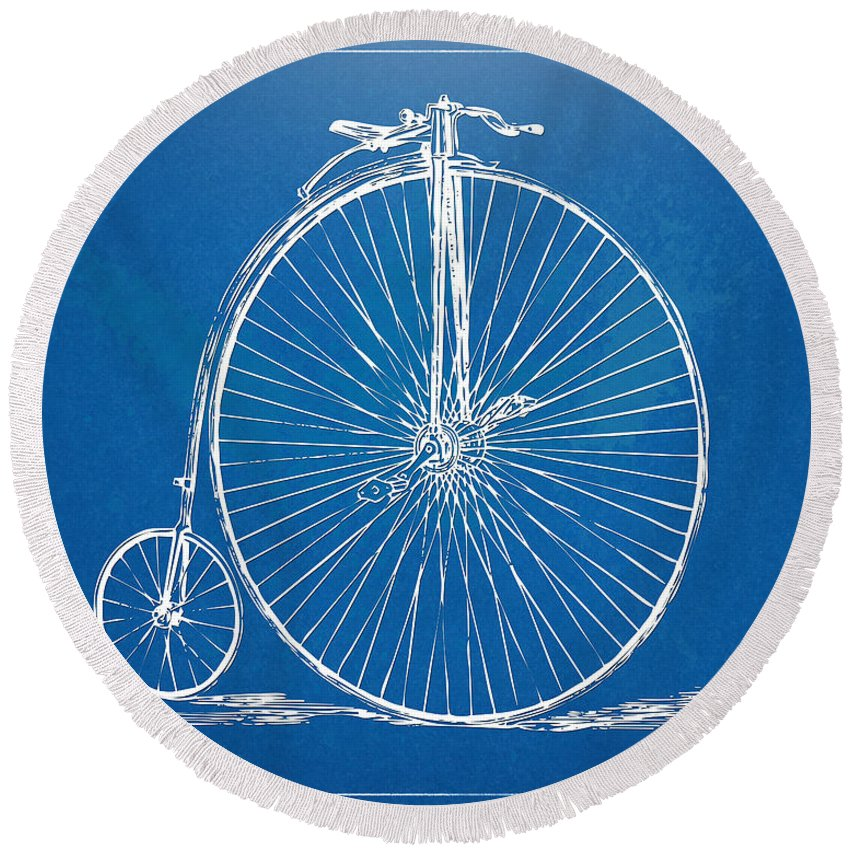 Penny-farthing Round Beach Towel featuring the digital art Penny-farthing 1867 High Wheeler Bicycle Blueprint by Nikki Marie Smith