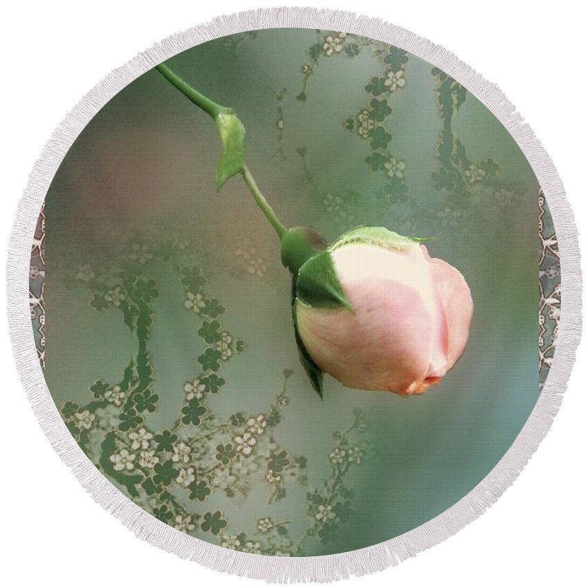 Rose Round Beach Towel featuring the painting Penny Postcard Chinoiserie by RC DeWinter