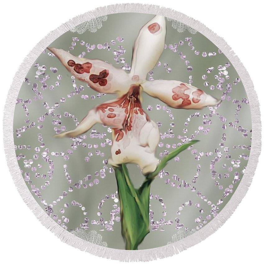 Orchid Round Beach Towel featuring the painting Penny Postcard Exotica by RC DeWinter
