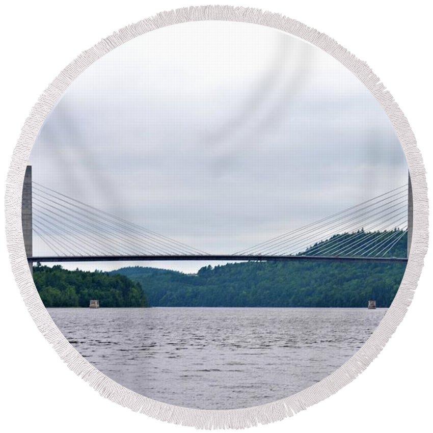 Penobscot Narrows Bridge Round Beach Towel featuring the photograph Penobscot Narrows Bridge by Tara Potts