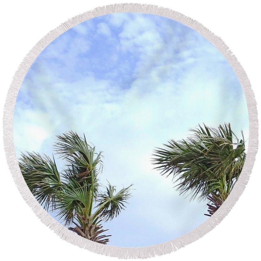 Palm Tree Round Beach Towel featuring the photograph Pensacola Palms by Lizi Beard-Ward