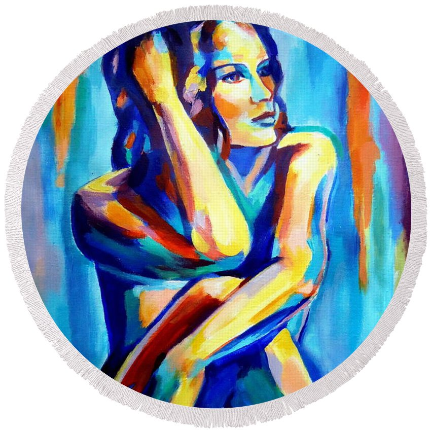 Nude Figures Round Beach Towel featuring the painting Pensive Figure by Helena Wierzbicki