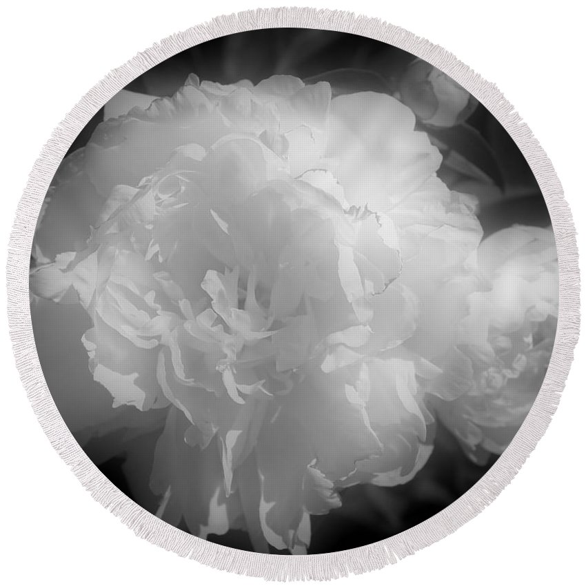 Peony Round Beach Towel featuring the photograph Peony Flower Phases Black And White Contrast by Smilin Eyes Treasures