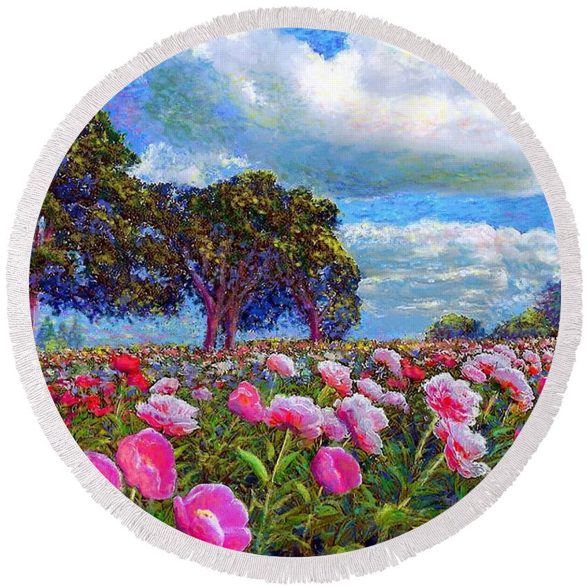 Sun Round Beach Towel featuring the painting Peony Heaven by Jane Small
