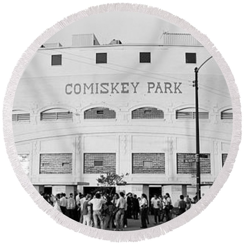 Photography Round Beach Towel featuring the photograph People Outside A Baseball Park, Old by Panoramic Images