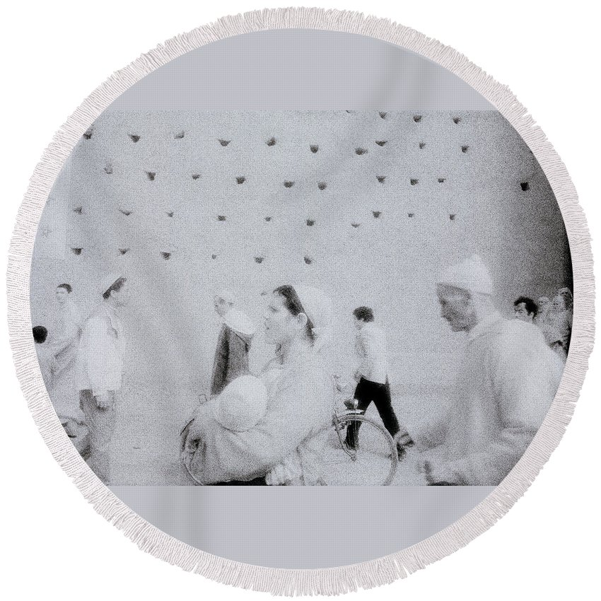 Surreal Round Beach Towel featuring the photograph People In A Dream by Shaun Higson