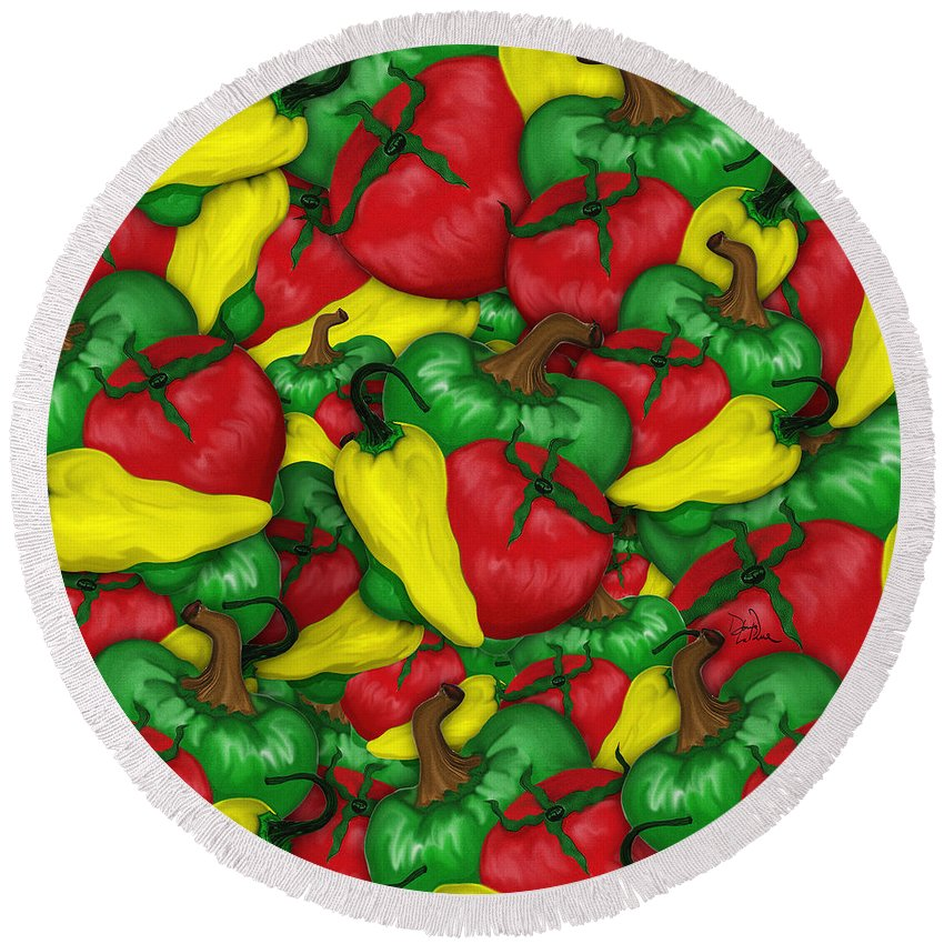 Peppers Round Beach Towel featuring the digital art Peppers And Tomatos by Doug LaRue