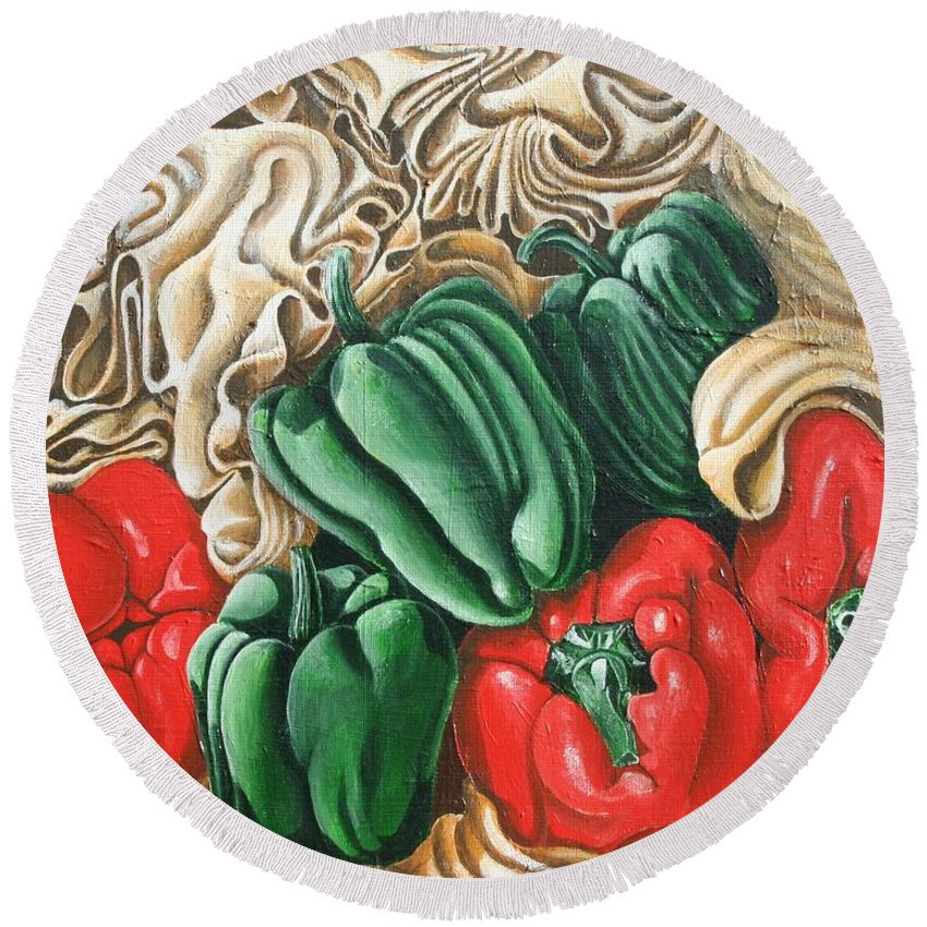 Peppers Round Beach Towel featuring the painting Peppers by Don Martinelli