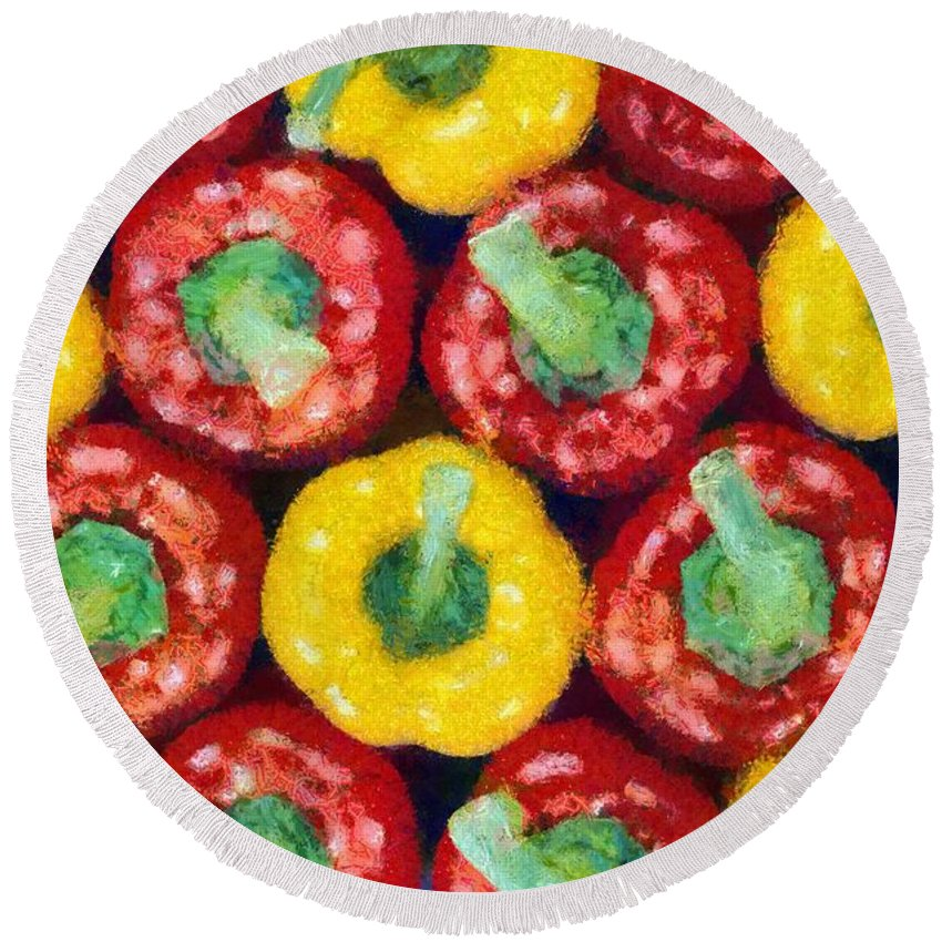 Still Life Round Beach Towel featuring the painting Peppers by George Atsametakis