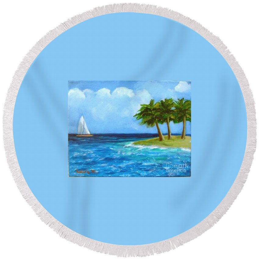 Boats Round Beach Towel featuring the painting Perfect Sailing Day by Laurie Morgan
