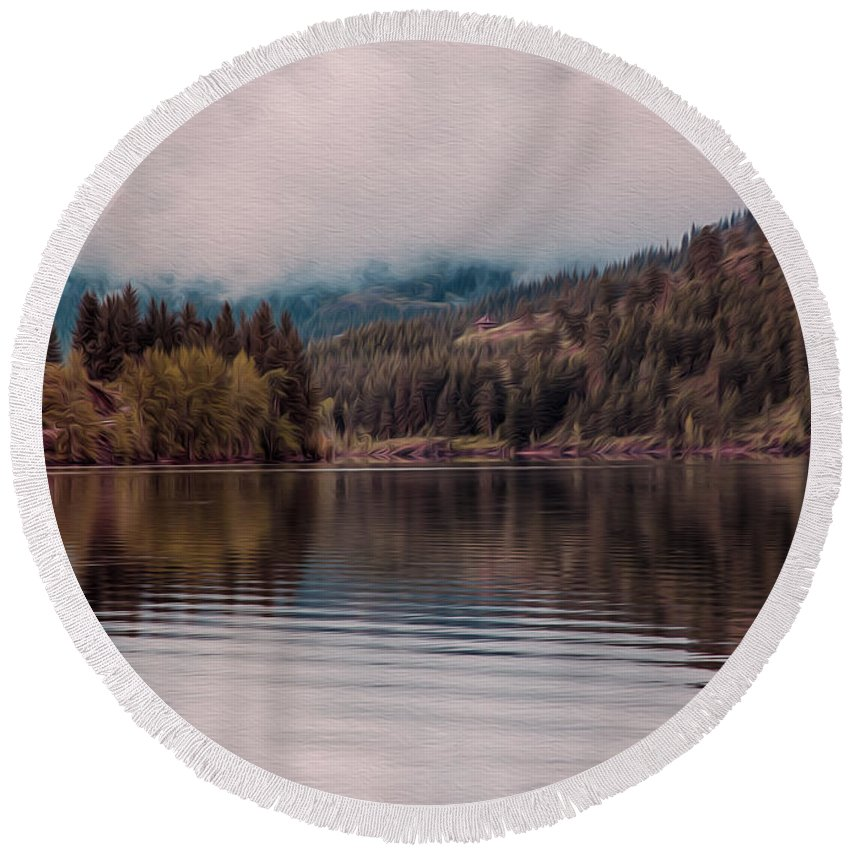 North Cascades Round Beach Towel featuring the painting Perfectly Cloudy Lake by Omaste Witkowski