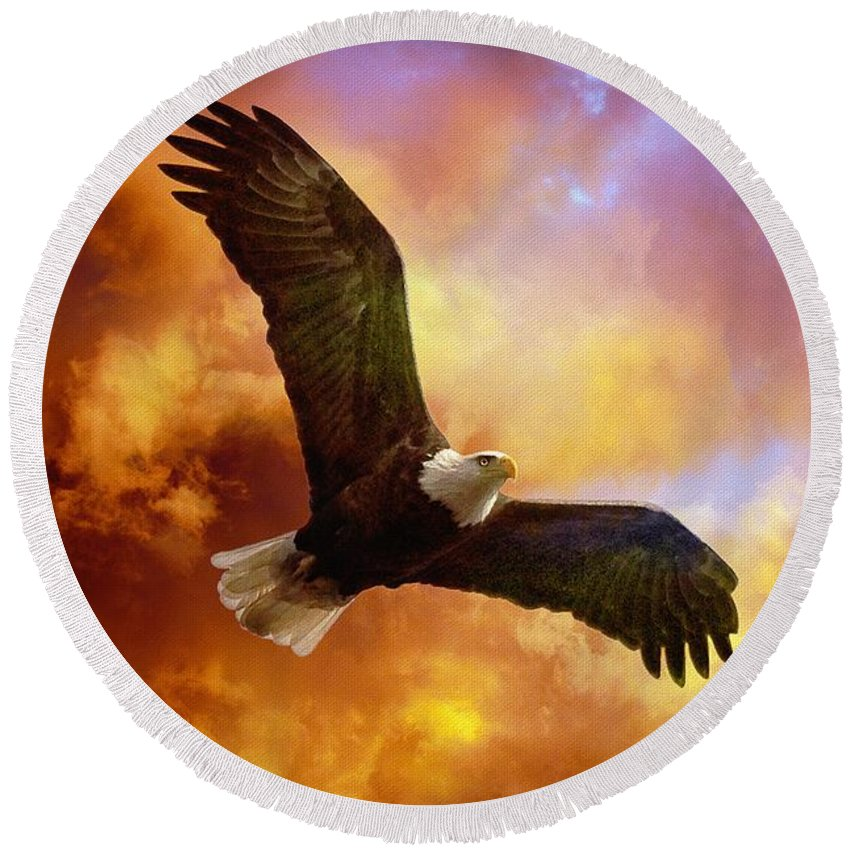 Eagle Round Beach Towel featuring the photograph Perseverance by Lois Bryan