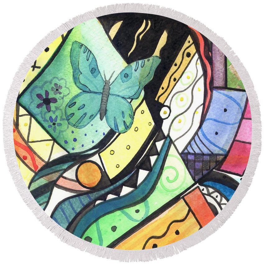 Abstract Round Beach Towel featuring the painting Persistence Of Form by Helena Tiainen