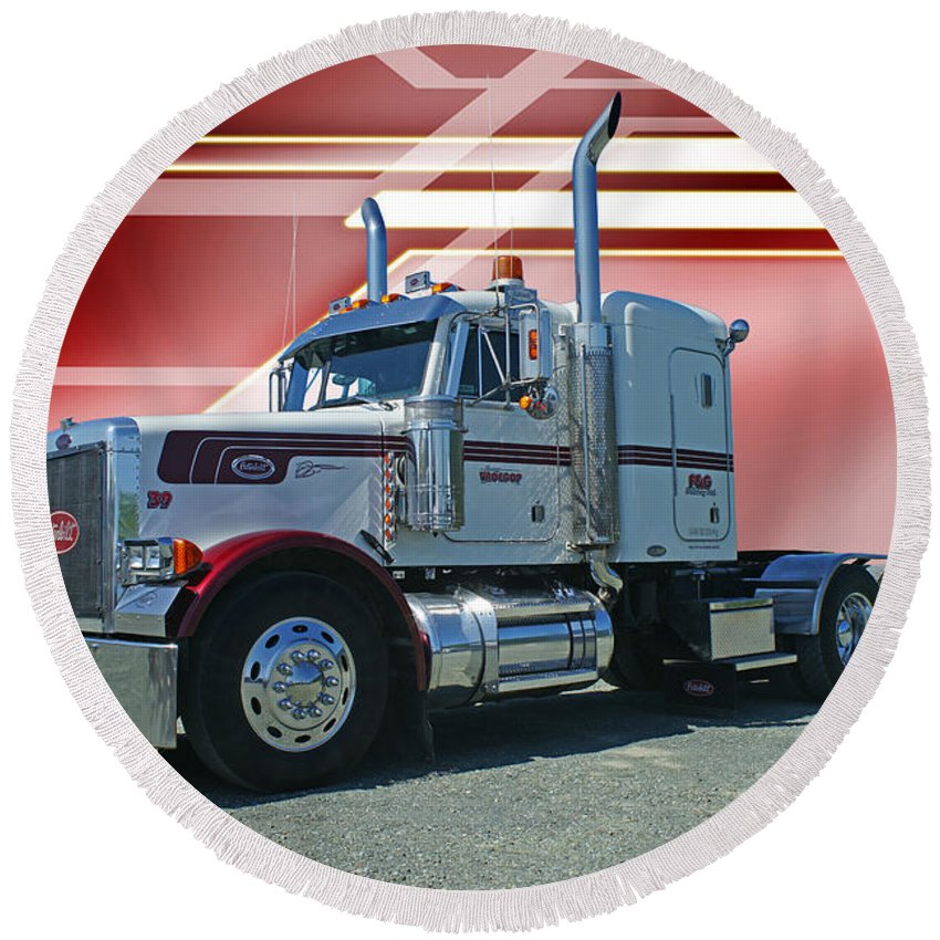 Trucks Round Beach Towel featuring the photograph Peterbilt With Burgundy Abstract by Randy Harris