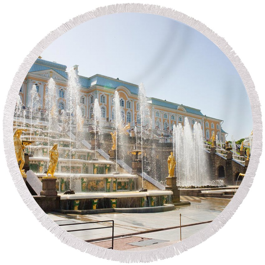 Architecture Round Beach Towel featuring the photograph Peterhof Palace Fountain by Thomas Marchessault