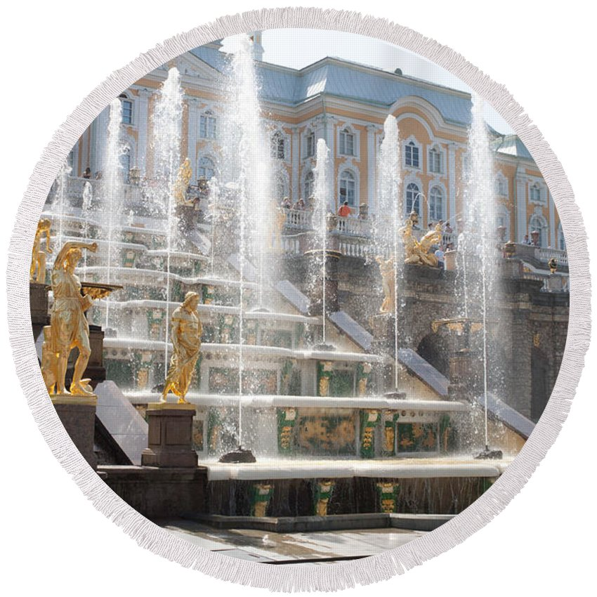Architecture Round Beach Towel featuring the photograph Peterhof Palace Fountains by Thomas Marchessault