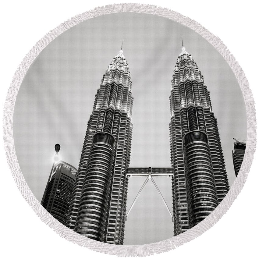 Petronas Towers Round Beach Towel featuring the photograph Petronas Towers by Shaun Higson