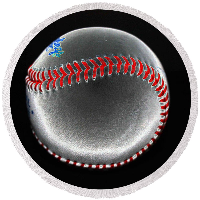Baseball Round Beach Towel featuring the photograph Pewter by David Bearden