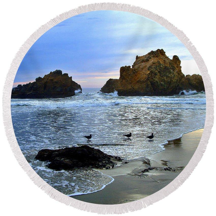 Twilight Round Beach Towel featuring the photograph Pfeiffer Beach Big Sur Twilight by Charlene Mitchell