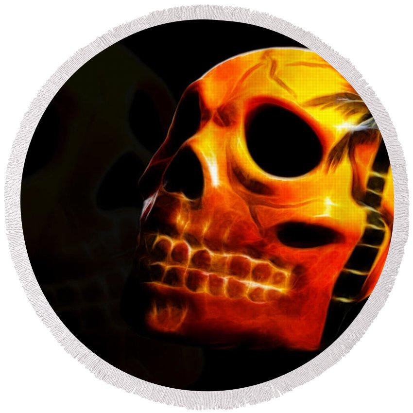 Skull Round Beach Towel featuring the photograph Phantom Skull by Shane Bechler