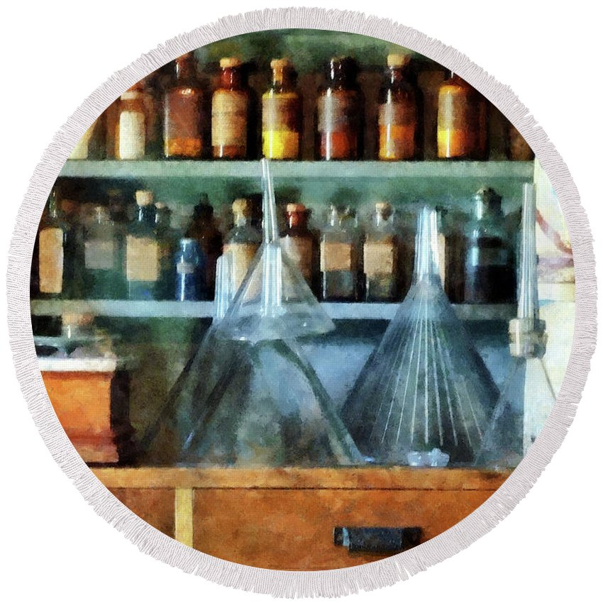 Medicine Round Beach Towel featuring the photograph Pharmacist - Glass Funnels And Barber Pole by Susan Savad