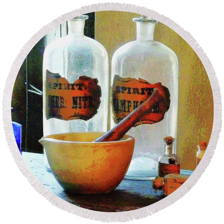 Druggist Round Beach Towel featuring the photograph Pharmacist - Mortar And Pestle With Bottles by Susan Savad