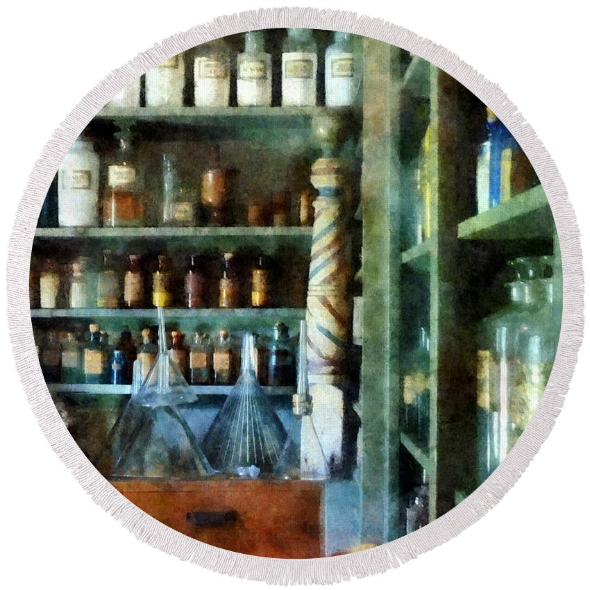 Funnels Round Beach Towel featuring the photograph Pharmacy - Back Room Of Drug Store by Susan Savad