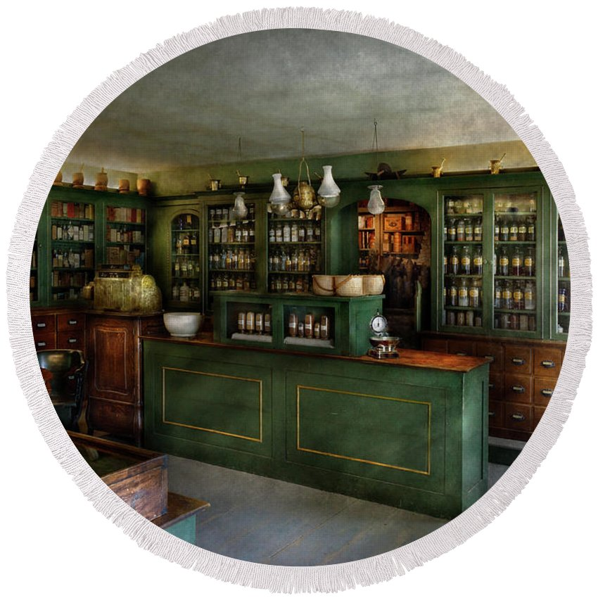 Apothecary Round Beach Towel featuring the photograph Pharmacy - The Chemist Shop by Mike Savad
