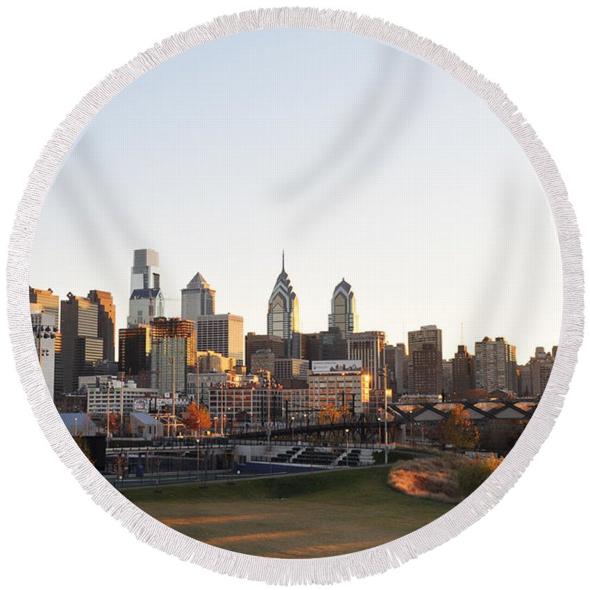 Philadelphia From University City Round Beach Towel featuring the photograph Philadelphia From University City by Bill Cannon