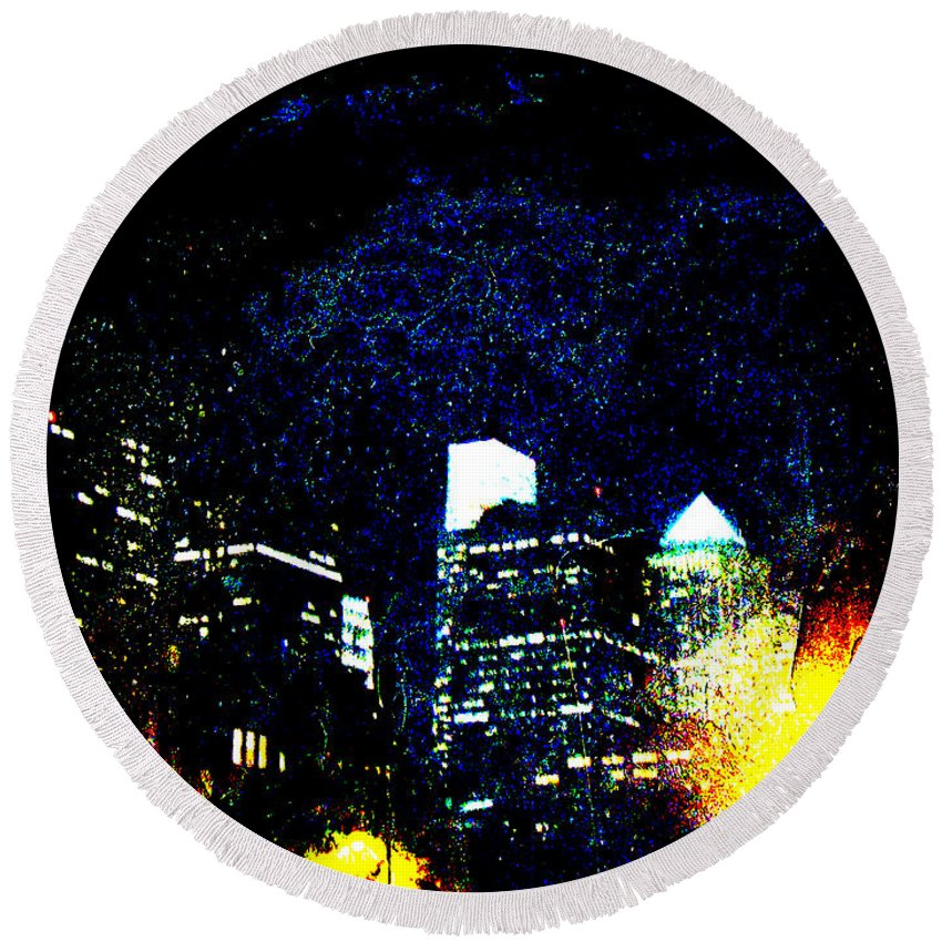 Greeting Round Beach Towel featuring the photograph Philadelphia Pennsylvania At Night From The River Walk by Mother Nature