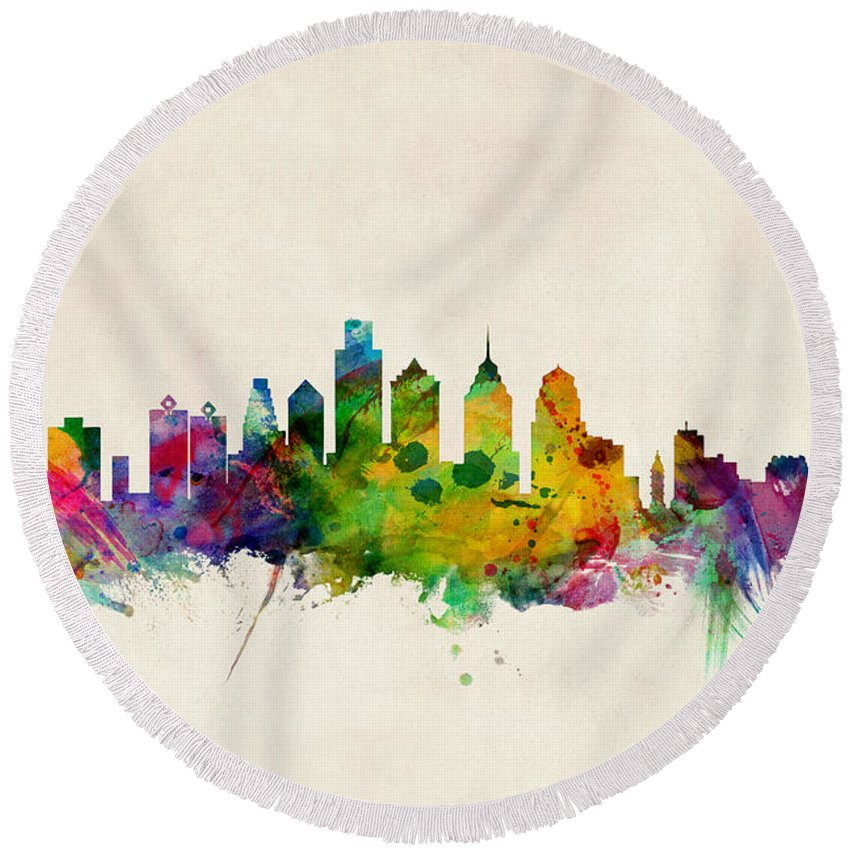 Philadelphia Skyline Round Beach Towels